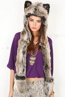 free shipping Fur hat animal cap grey ear fashion performance props ty911