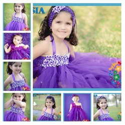 Newborn Baby Dresses Easter Dresses For Toddler Girls TuTu Grown 3 layers with match headband & pearl necklace set 6set/lot(China (Mainland))