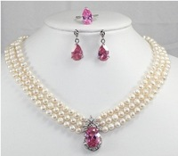 2013 New Fashion Jewelry Sets Rare bridal 3 rows white pearl pink crystal pendant Necklace earring ring set free shipping