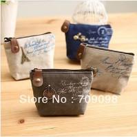 Free Shipping dream paris small Portable Wallet fabric coin bag/small canvas Purses wholesale
