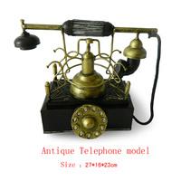 Antique craft antique telephone model handmade pigbank craft home decoration bar coffee house display birthday gift