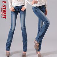 free shipping Elastic plus size slim butt-lifting boot cut denim jeans female women's bell-bottom trousers