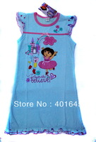 girl dora sleepwear cartoon design nightgrowns kids sleeping dress item NO.1301294