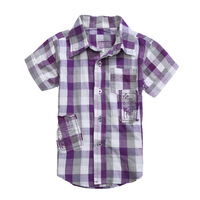 5pcs/lot children boy's summer GUE fashion blue & purple plaid shirt baby brand blouse with pocket free shipping