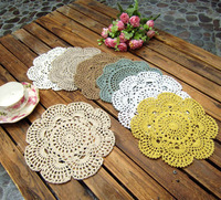 Free shipping wholesale 100% cotton hand made Crochet cup mat coaster mug pad doily