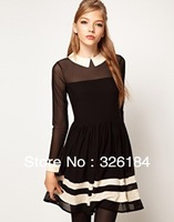 Free shipping 2013 Spring  New Fashion Elegant Women Dress Long -Sleeve Peter Pan Collar Solid Mini Dress 7120 Dropship