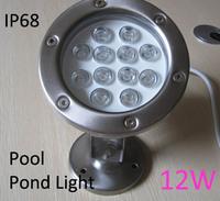 Pool light led12v12w,underwater light led,waterproof ip68,12w,12v,24v,85-260v,rgb changeable color, warm white,stainless steel