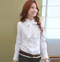 korean Lace hubble-bubble sleeve shirt OL sweet joker necessary shirt blouse ,long sleeve ,white &grey &black