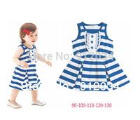 Newly girls soft dresses summer 2014 girls striped dress sleeveless baby girl dress free shipping 1 piece retail