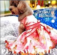 Luxury dog flower girl dress puppy doggie wedding party dress skirt full with emboridery flowers