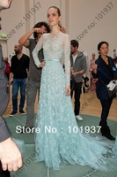 Free Shipping Women's Elegant Elie Saab For Sale A Line Scoop Appliques Light Blue Evening Dress With Long Sleeves