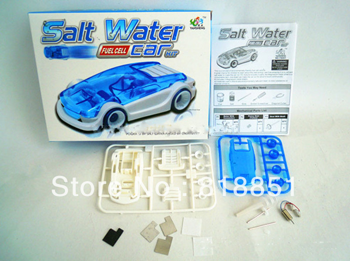 2013 new style hot sale DIY creative brine salt Fuel cell power EN71 eco-friendly track blue/green car children toys J.One gift(China (Mainland))