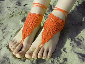 Crochet barefoot sandles, yoga sandals, foot jewelry, wedding barefoot sandals, sexy, steampunk sandals, beach pool 5pair/lot