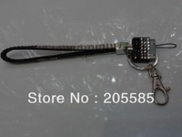 2013 fashion free shipping bling rhinestone iphone wristlets lanyard clip wholesale