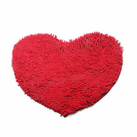 Ultrafine fiber heart chenille carpet mats love shaped door bedding