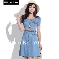 Free shipping High quality belt slim denim one-piece dress 2015 summer vintage denim dress sweet dress cute dress