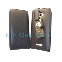 Black Genuine Leather Case Cover Pouch + LCD Film For HTC Butterfly X920e