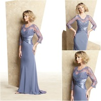 MB018 Sheer straps long sleeve blue lace sexy mother of the bride dresses