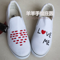 Love love strapless low hand-painted shoes skateboarding shoes lazy casual shoes foot wrapping painted shoes