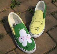 Fresh strapless low hand-painted shoes canvas shoes lovers shoes doodle single shoes