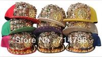 Free Shipping 2013 Explosion models, large meatball rivets hip-hop cap, Snapback hats, Punk rock nightclub arena cap 10pcs/lot