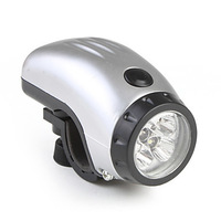 Excellent Design!! Free shipping Front Lamp 5-LED Bike Bicycle Light with LED white lighting 3XAAA Battery Silver