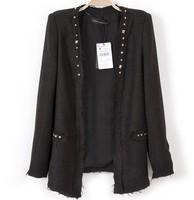 Free shipping 2014 hot sale Brand girls coat RIvet Decorate Cotton-Linen slim fit blazers Womens Ladies Autumn spring black coat