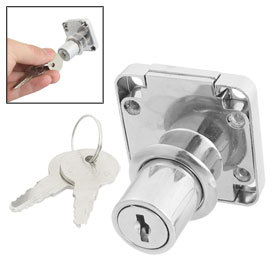 2 Pcs Office Home Security Cabinet Silver Tone Cylinder Drawer Lock w 2 Keys