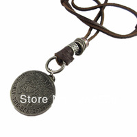 mens charm choker Circle coin pendant Genuine leather necklace p373