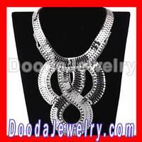 Womens Chunky Silver Snake Chain Crystal Choker Bib Collar Necklace Wholesale JW0070-4, Free Shipping