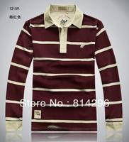 Free  shipping   Men's long sleeve T-shirt cotton stripe collar large size