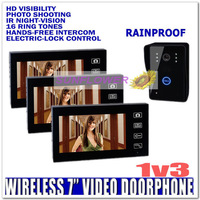 "Memory 7"" Wireless Color Door Phone Bell Video Handsfree Intercom Camera IR NightVision (3 monitors + 1 camera) free shipping"