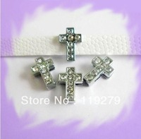 1pc 8mm Full Rhinestone Cross Slide Charms