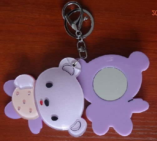 Latest cute fashion bear make-up mini mirror with keychain/Portable compact mirror wholesale Free shipping(China (Mainland))