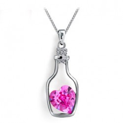 100% SWA Element Austrian crystal necklace the love bottle 1152-3(rose red)(China (Mainland))