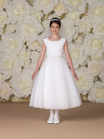 Simple style scoop ruffle a-line sash a-line ankle length elegant white beautiful flower girl dresses charming sleeveless