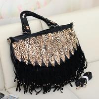 2013 women's handbag leopard print peacock tail decoration women's handbag tassel bag rivet bag handbag messenger bag