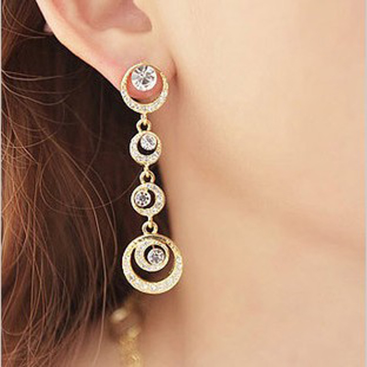 Fashion Korean long water droplets tassels moon earrings(China (Mainland))