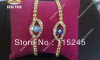 Free Shipping Small Beads Gold Plated Crystal Jewelry Lucky Evil Eye Bracelet Set BS107