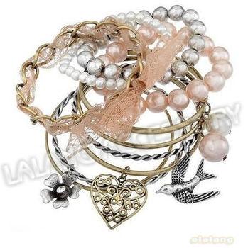 New Design 1 set/lot Alloy Colorful Bracelet Lace Heart& Flower Charms Fashion Bracelet Jewelry Findings 310039