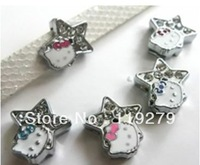 1pc  8mm Mix Color Rhinestone Star with Hello Kitty Slide Charms DIY charms Fit Pet Collars Wristbands Belts