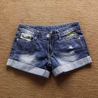 smile face mini summer jean cheap high waisted denim shorts for women fashion 2014 new casual short trousers
