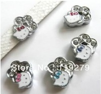 1pc 8mm Mix Color Rhinestone Flower with Hello Kitty Slide Charms DIY charms Fit Pet Collars Wristbands Belts