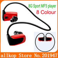 W262 Outdoor Sports Mp3 player with Headset sweatband 8GB MP3 W263 for Running cycling hiking 8 colors free shipping
