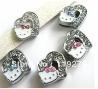 1pc 8mm Mix Color Rhinestone Heart with Hello Kitty Slide Charms DIY charms Fit Pet Collars Wristbands Belts