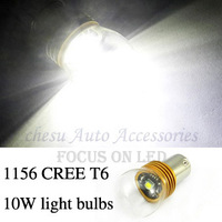 Car Bulbs P21W CREE T6 10W High Power Auto LED reverse Lamps 1156 reverse White color to chose in free shipping