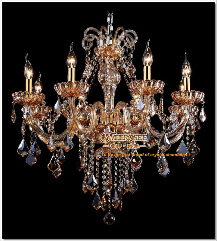 Factory Direct Amber Crystal Chandelier Lights Fixture MD6609-L8 Free Shipping(China (Mainland))