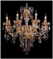 Factory Direct Amber Crystal Chandelier Lights lustre Fixtures cristal chandelier  MD6609-L8