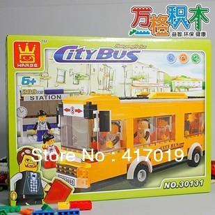 Free shipping WanGe 30131 289pcs 3D DIY lagre Enlightren bricks blocks Building Blocks sets eductional children toys city bus