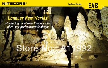Free shipping Nitecore EA8 CREE XM-L U2 LED 900 Lumens Flashlight Waterproof Rescue Search Torch
